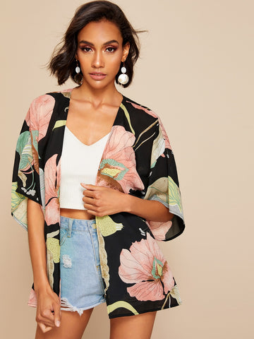 Drop Shoulder Floral Kimono | Amy's Cart Singapore