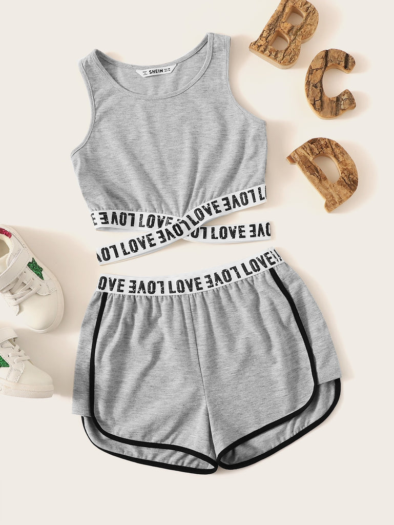 fca586ad81 Girls Crisscross Lettering Tape Tank Top & Shorts Set - Amy's Bouquets