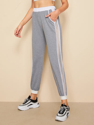 Fishnet Panel Slant Pocket Sweatpants | Amy's Cart Singapore