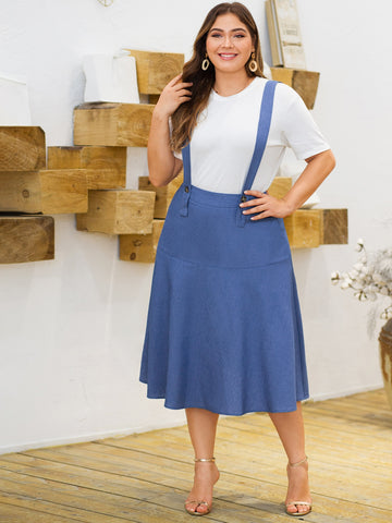 Plus Ruffle Hem Denim Skirt With Straps | Amy's Cart Singapore