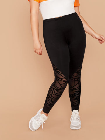 Plus Geo Mesh Insert Leggings | Amy's Cart Singapore