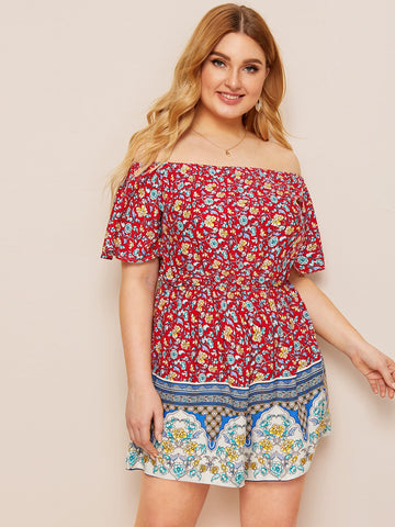 Plus Off Shoulder Ditsy Floral Print Romper | Amy's Cart Singapore