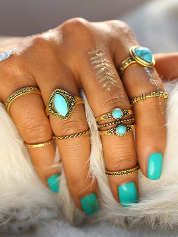 Turquoise Design Ring Set 8pcs | Amy's Cart Singapore