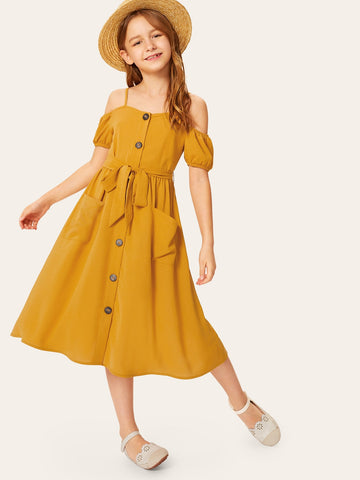 Girls Button & Pocket Front Belted Cold Shoulder Dress | Amy's Cart Singapore