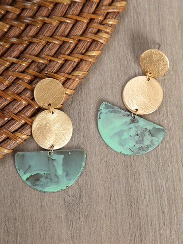Dangle Circle And Half Moon Earrings | Amy's Cart Singapore