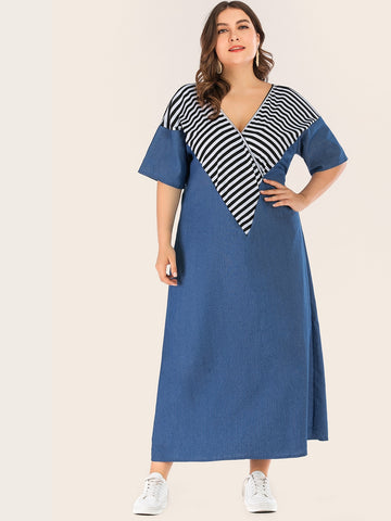 Plus Contrast Striped Print Denim Dress | Amy's Cart Singapore