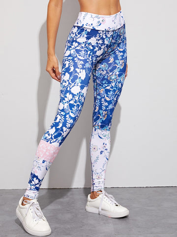 Floral Print High Waist Skinny Leggings | Amy's Cart Singapore