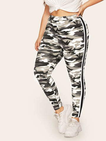 Plus Side Striped Camo Leggings | Amy's Cart Singapore