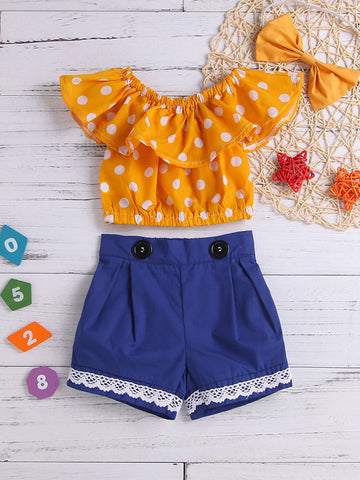 Toddler Girls Polka Dot Top & Contrast Lace Shorts & Headband | Amy's Cart Singapore