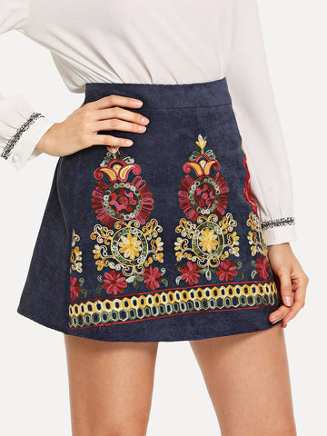 Zip Up Embroidered Skirt | Amy's Cart Singapore