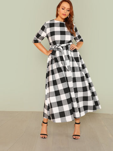 Plus Self Belted Gingham Dress | Amy's Cart Singapore