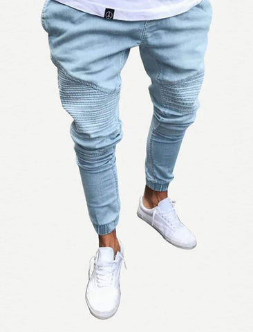Men Ruched Detail Solid Jeans | Amy's Cart Singapore