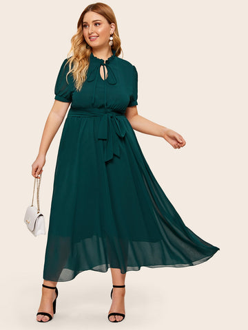 Plus Belt Tie Neck Dress | Amy's Cart Singapore
