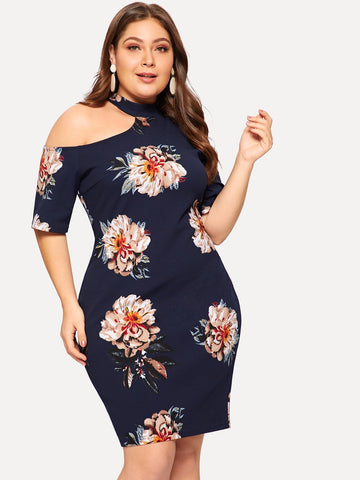 Plus Cut-out Shoulder Floral Bodycon Dress | Amy's Cart Singapore