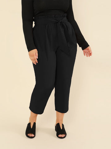 Plus Frill Waist Knot Front Cigarette Pants | Amy's Cart Singapore