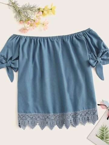 Plus Contrast Lace Off Shoulder Knot Cuff Denim Blouse | Amy's Cart Singapore