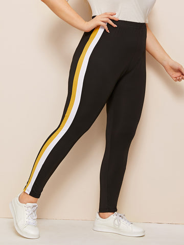 Plus Contrast Taped Side Leggings | Amy's Cart Singapore