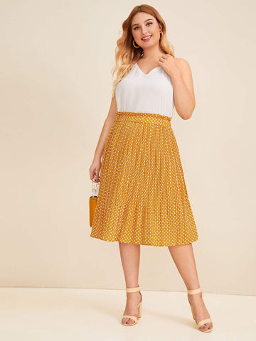 Plus Dot Print Pleated Skirt | Amy's Cart Singapore