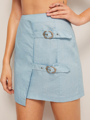 Belted Front Wrap Denim Skirt | Amy's Cart Singapore