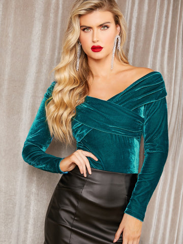 Cross Wrap Front Off Shoulder Velvet Top | Amy's Cart Singapore