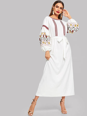 Lantern Sleeve Embroidered Belted Dress | Amy's Cart Singapore
