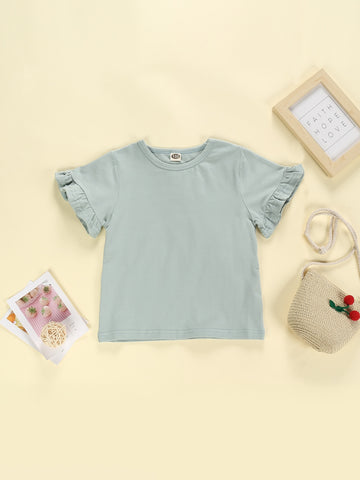 Toddler Girls Solid Flounce Sleeve Tee | Amy's Cart Singapore