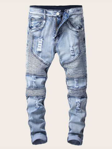 Men Zipper Ripped Washed Jeans | Amy's Cart Singapore