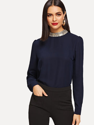 Contrast Sequin Neck Blouse | Amy's Cart Singapore