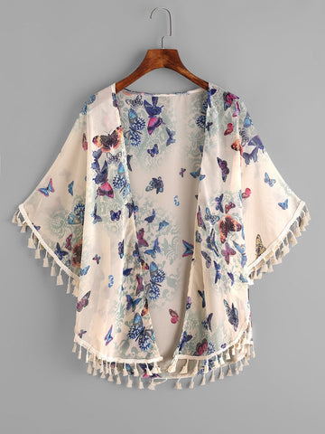 Butterfly Print Fringe Trim Top | Amy's Cart Singapore