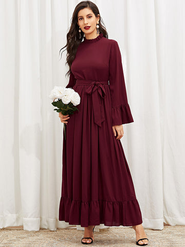Mock-Neck Ruffle Trim Hijab Dress | Amy's Cart Singapore