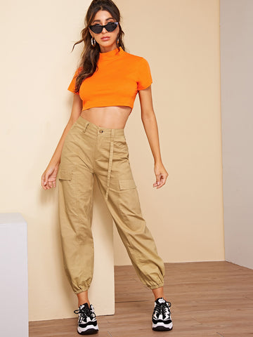 Neon Orange Crop Tee & Jogger Pants | Amy's Cart Singapore