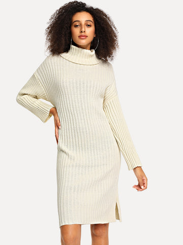 High Neck Slit Hem Sweater Dress | Amy's Cart Singapore