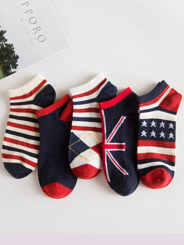 Men Striped & Star Socks 5pairs | Amy's Cart Singapore
