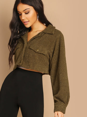 Solid Crop Teddy Jacket | Amy's Cart Singapore