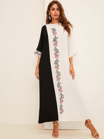 Botanical Embroidered Bell Sleeve Two Tone Hijab Dress | Amy's Cart Singapore
