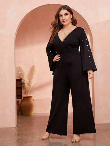 Plus Plunging Neck Pearls Beaded Bell Sleeve Palazzo Jumpsuit | Amy's Cart Singapore