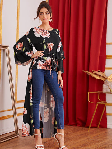 Layered Sleeve Self Belted Floral Print Asymmetrical Top | Amy's Cart Singapore