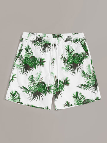 Men Drawstring Waist Tropical Print Shorts | Amy's Cart Singapore