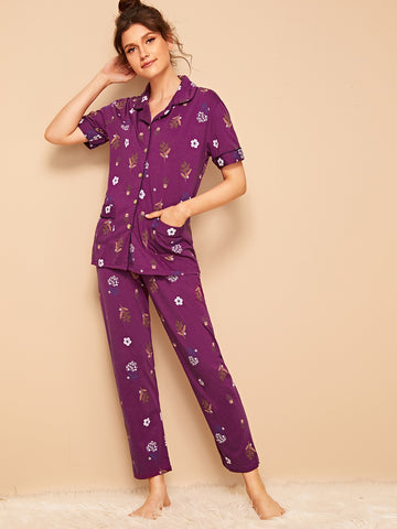 Floral Print Button Front PJ Set | Amy's Cart Singapore