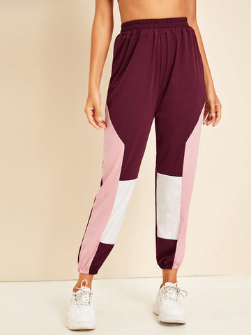 Elastic Waist Cut And Sew Panel Sweatpants | Amy's Cart Singapore