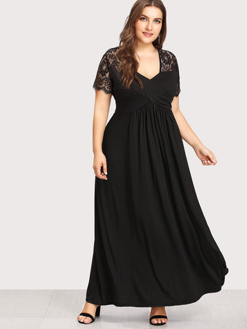 Plus Lace Contrast Longline Dress