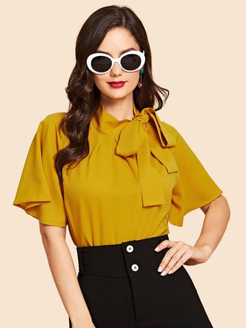 Flutter Sleeve Tie Front Stand Neck Blouse
