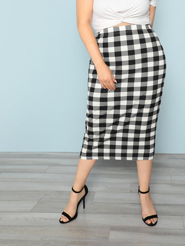 Plus Plaid Pencil Skirt