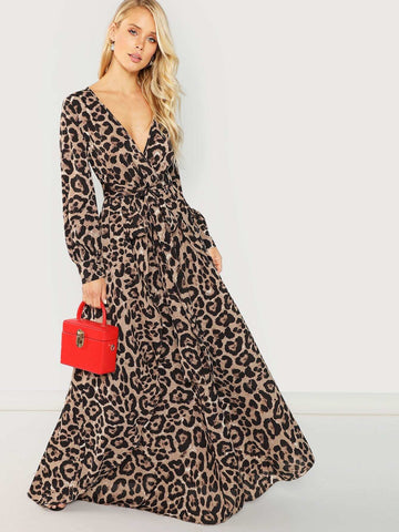 Plunge Neck Self Tie Leopard Wrap Dress