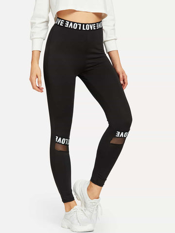 Mesh Insert Letter Tape Leggings