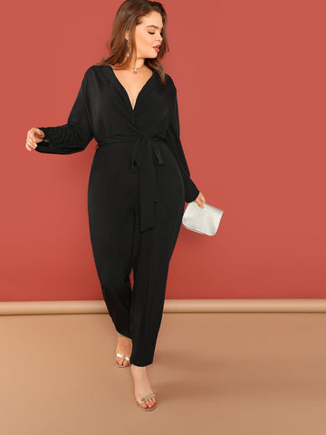 Plus Surplice Neck Slant Pocket Belted Jumpsuit | Amy's Cart Singapore