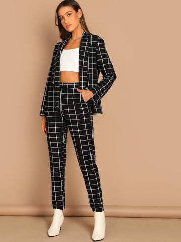 Shawl Collar Grid Blazer & Pants Set