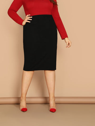 Plus Solid Bodycon Skirt