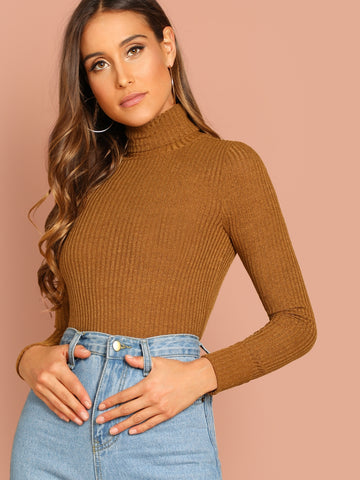 Turtle Neck Rib-knit Fitted Tee