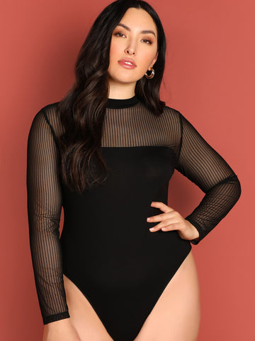 Plus Mock-neck Mesh Yoke Form Fitting Bodysuit
